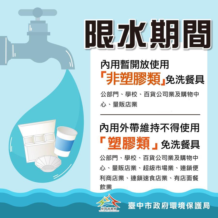 省水大作戰! 中市限水期間內用暫可供非塑膠免洗餐具